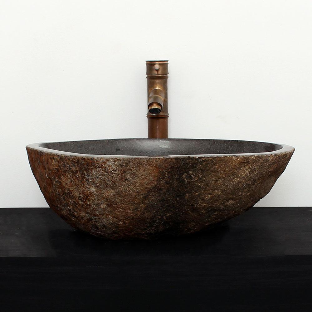 Cuba de Banheiro em Pedra Natural RM18G  48 X 39 X 15cm