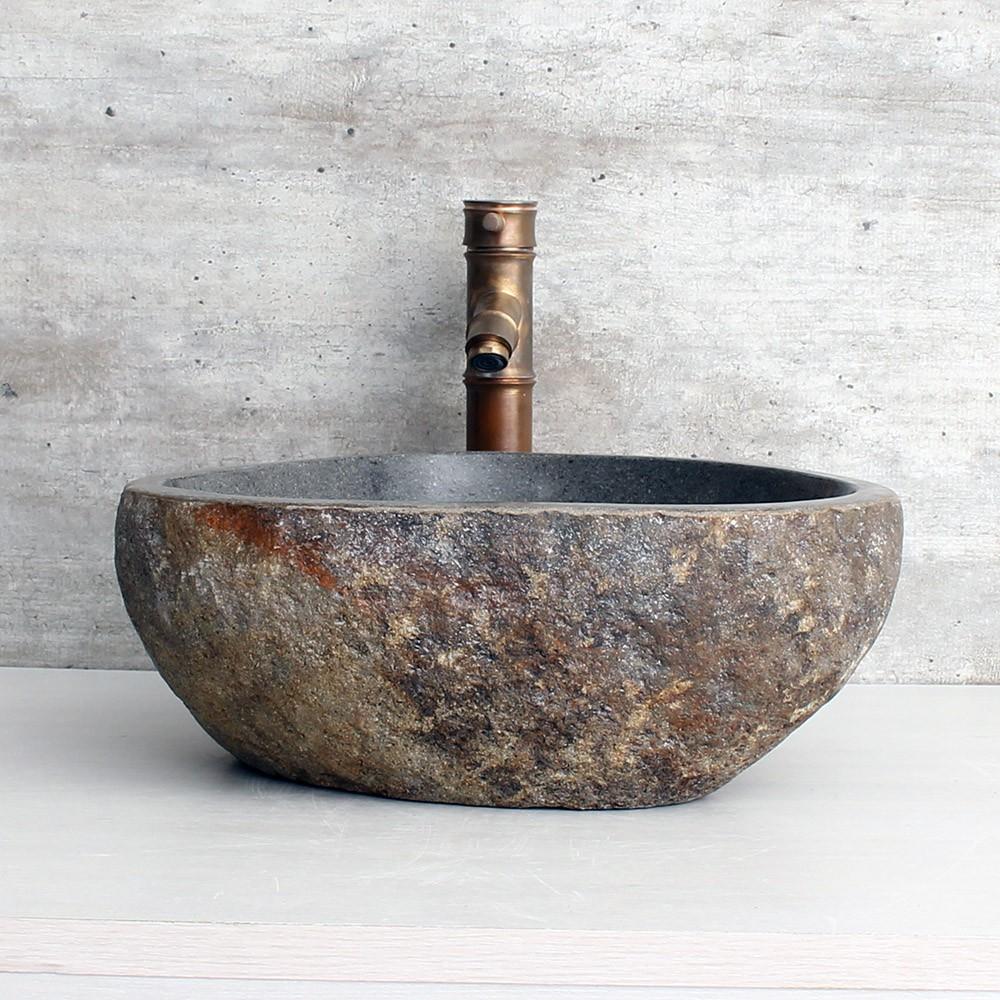 Cuba de Banheiro em Pedra Natural RS1108 39x38x15cm