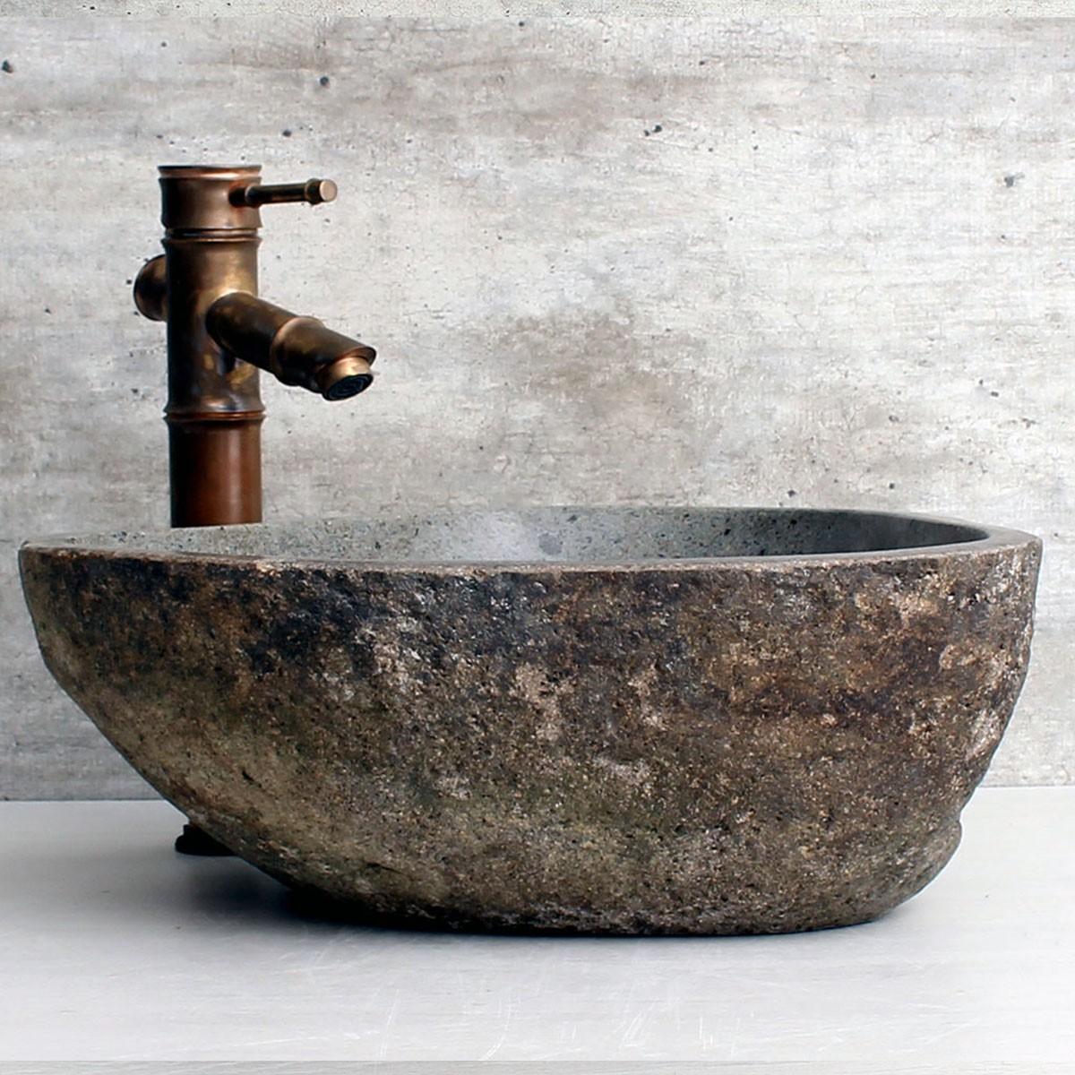 Cuba de Banheiro em Pedra Natural RS1131 39x36x15cm