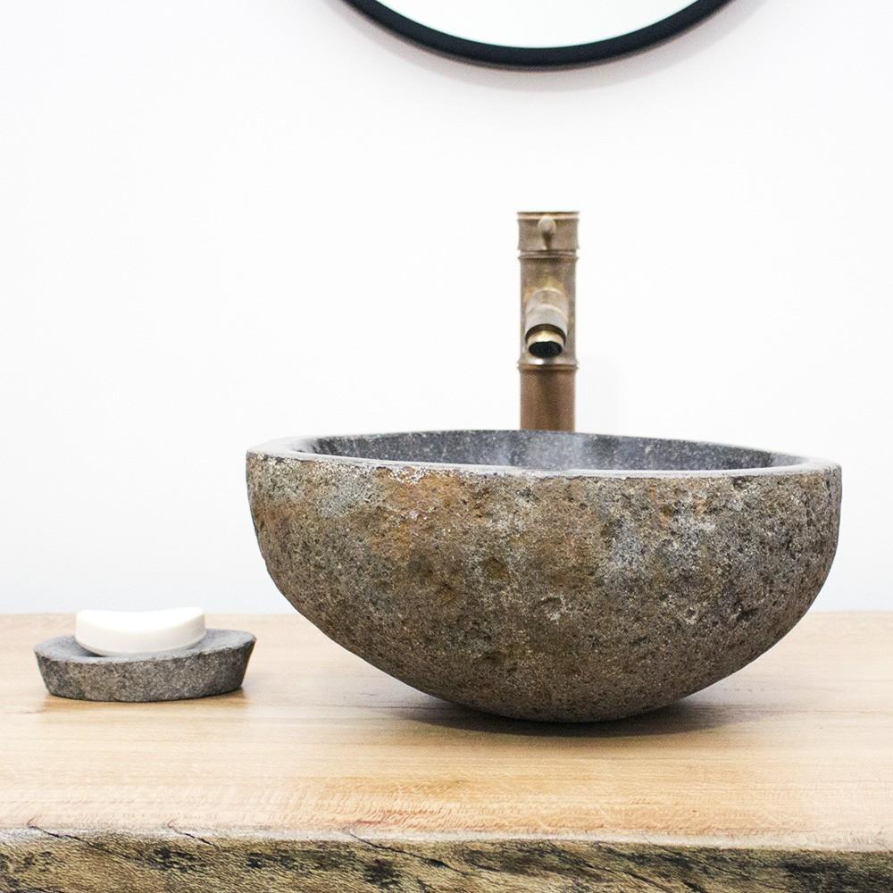 Cuba de Banheiro em Pedra Natural RS1142 36x33x15cm