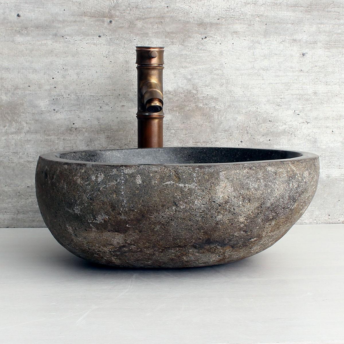 Cuba de Banheiro em Pedra Natural RS1177-L 38x36x15cm
