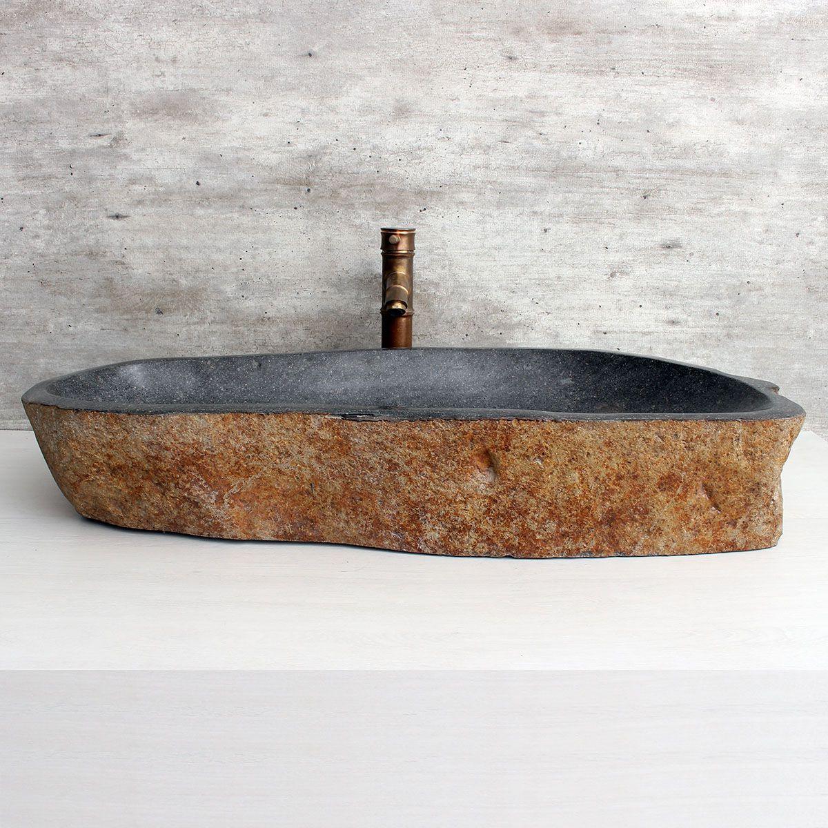 Cuba de Banheiro em Pedra Natural XXL13 85x35x15cm