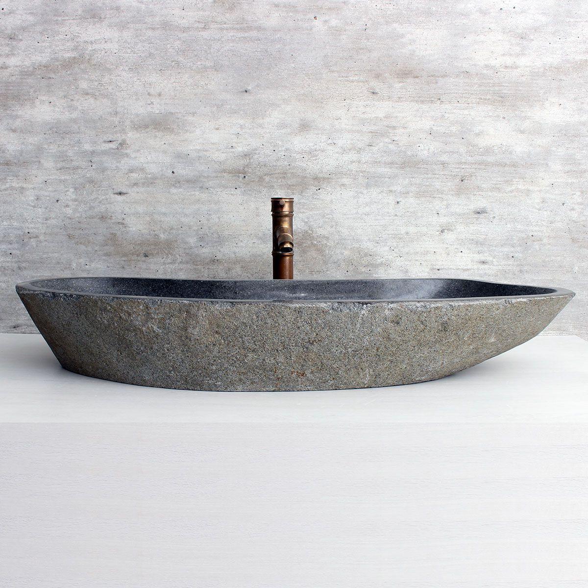 Cuba de Banheiro em Pedra Natural XXXL01-L 98x38x15cm