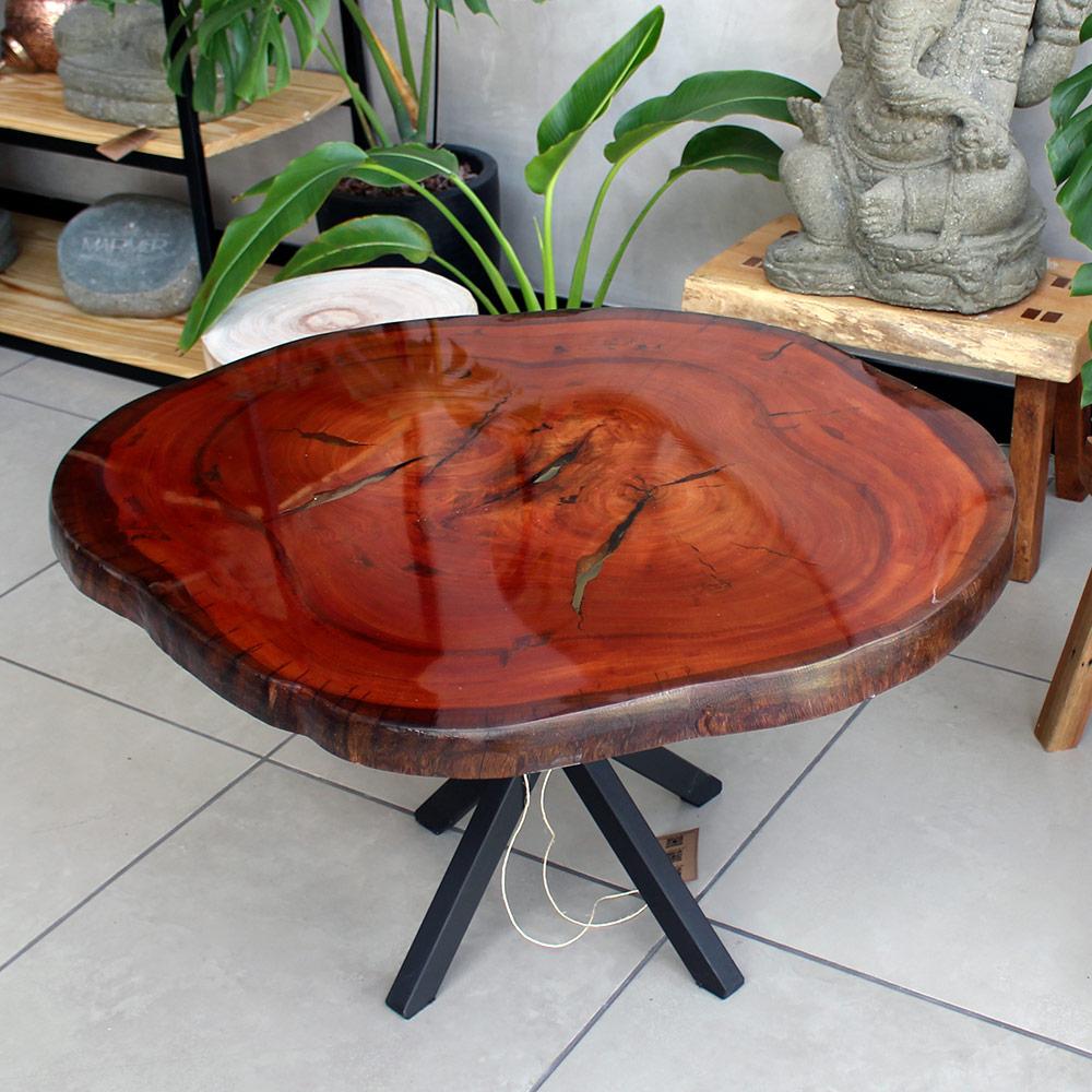 Mesa de Centro em Madeira Maciça Resinada MCEV1012-L 91X81X35cm
