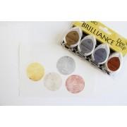 Carimbeira Brilliance Tsukineko Dew Drop - Kit com 4 unidades - Dourado, Prata, Cinza e Cobre