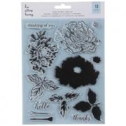 Carimbo de Rosas com sobreposição - Hip Clear Stamp Hooray Peony Bilder - 13 pc