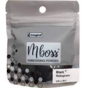 Embossing Powder - Mboss - Pó de Emboss Preto Holográfico