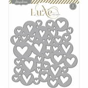 Enfeite de papelão tipo chipboard - Luxe Hearts - Pink Paislee