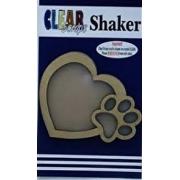 Shaker Madeira- Clear Scraps- Coracao com Patinha