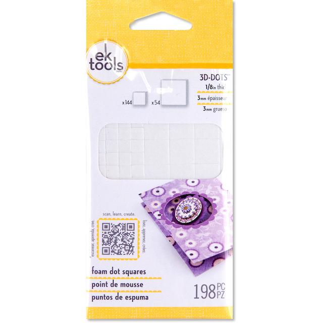 3D Dots - EK tools - Foam Tabs - 198 unidades - Dupla Face tipo banana
