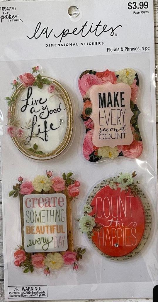 Adesivo La Petites 3D - Floral e Frases Dimensional Stickers