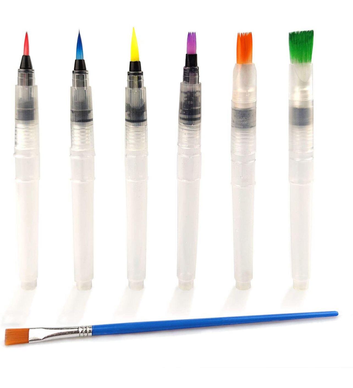 Canetas pinceis de aquarela - kit com 6 unidades - Watercolor brush pen
