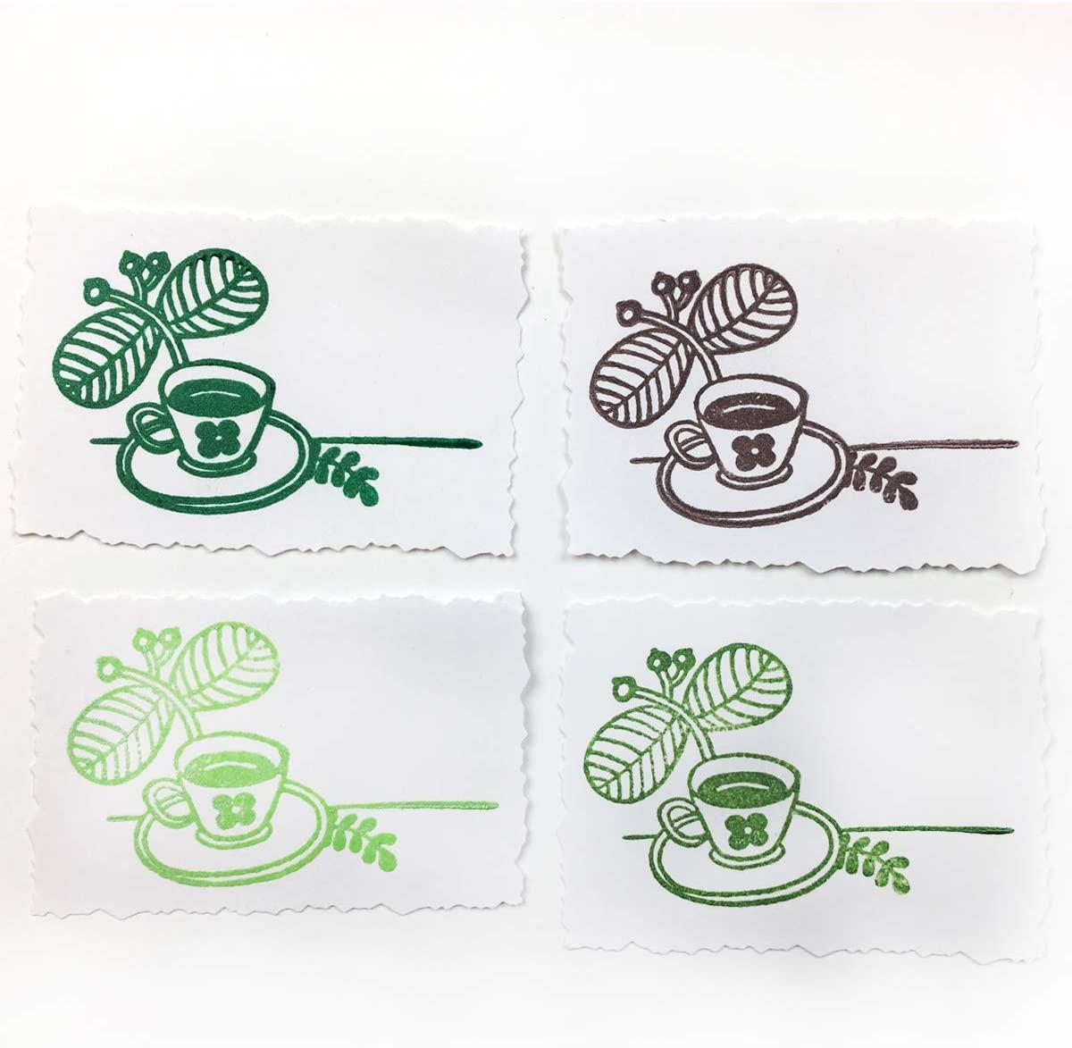 Carimbeira Brilliance Tsukineko Dew Drop - Kit com 4 unidades - Casa na Árvore - Tons de Verde e Marrom