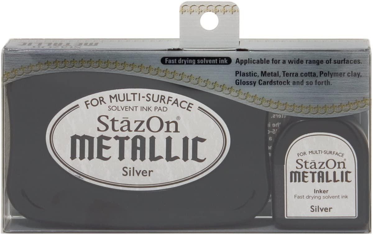Carimbeira StazOn Metallic Tsukineko - Silver