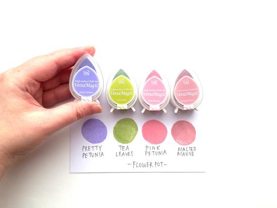 Carimbeira Versa Magic Tsukineko Dew Drop - Kit com 4 unidades  - Roxo, Verde, Rosa e Rosa Escuro