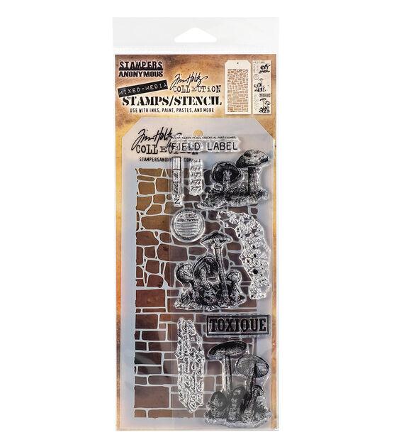 Carimbo com Stencil Tim Holtz Stone e Slate