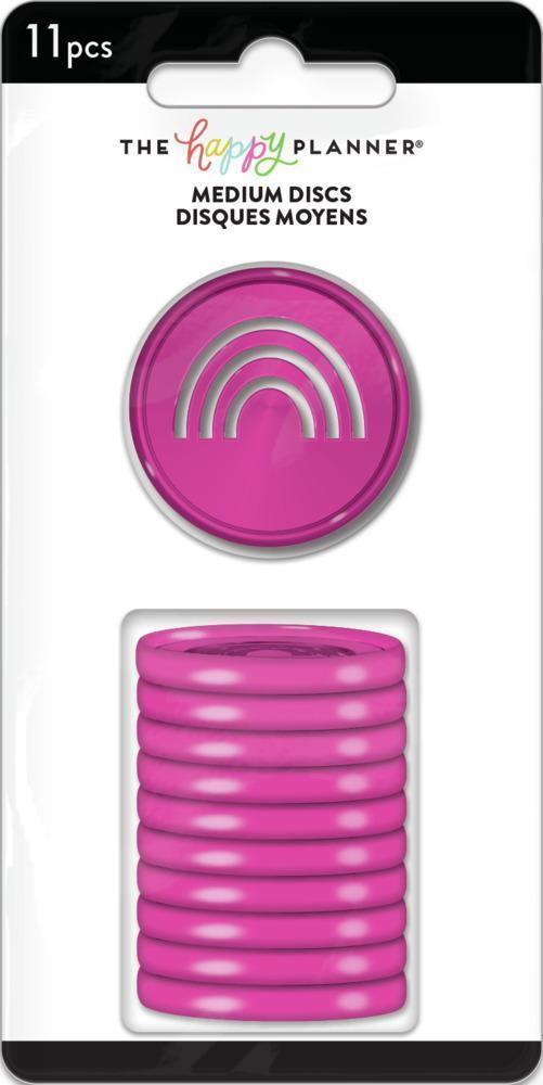 Discos Médio Coloridos Rosa com Arco Iris - The Happy Planner - 11unidades