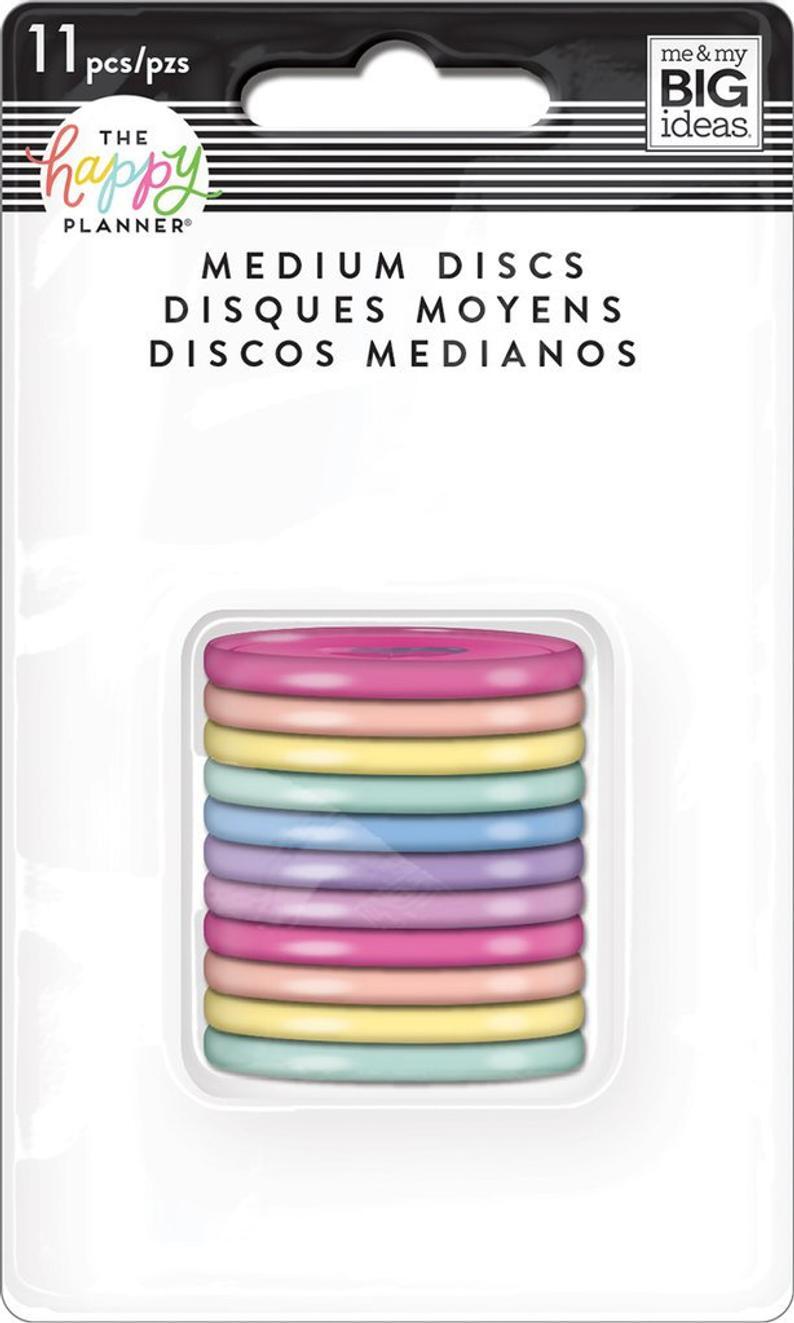 Discos Médio Coloridos Tom Pastel - The Happy Planner - 11unidades