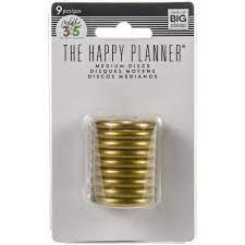 Discos Médio  Gold - The Happy Planner - 9 unidades