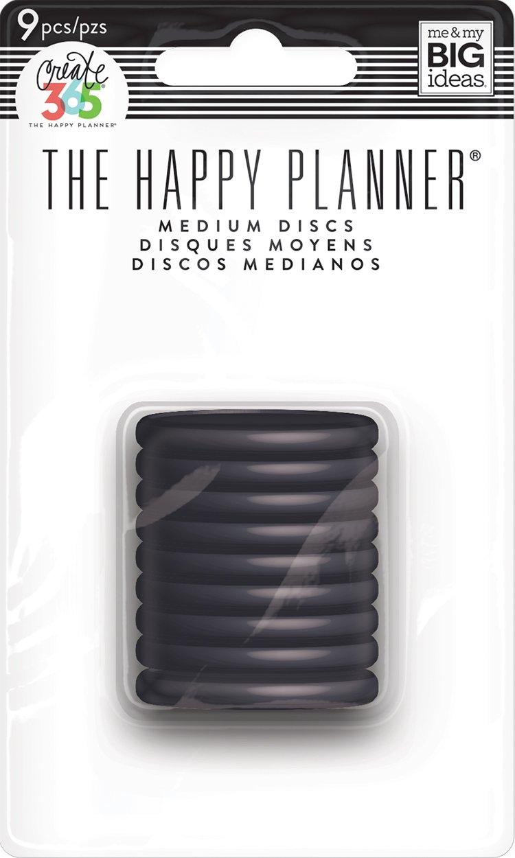 Discos Médios Preto - Medium The Happy Planner - 9 unidades