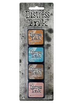 Mini Carimbeira Distress Ink - Kit com 4 - Kit 6
