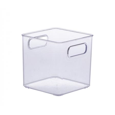 Cesto organizador quadrado transparente 15x15 cm