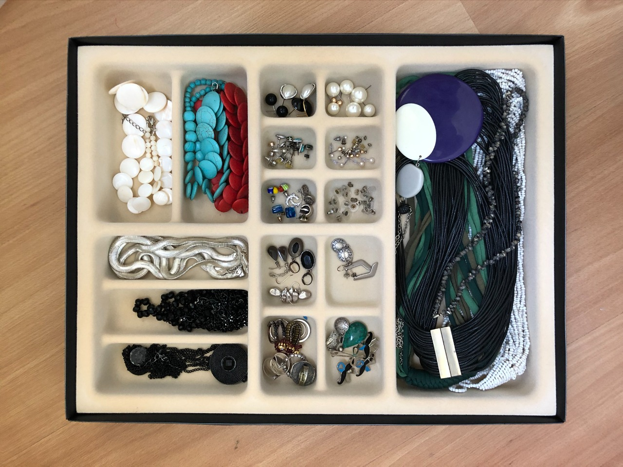 Organizador de joias e acessórios bandeja veludo mix de tamanhos M