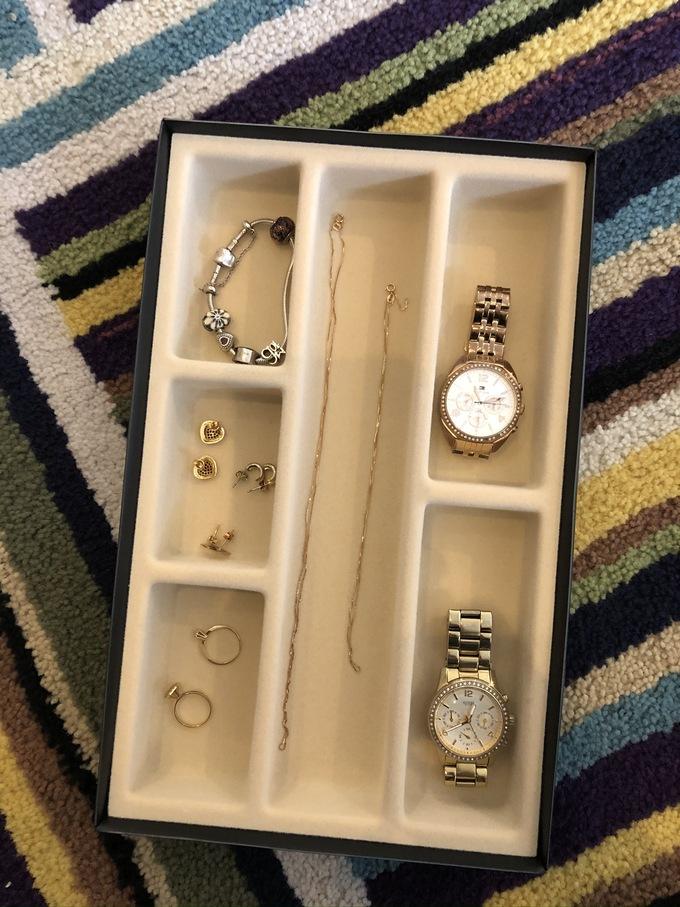 Organizador de joias e acessórios bandeja veludo mix de tamanhos P