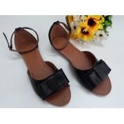 Sandália preto fosco com laço no mesmo material
