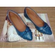 Sapatilha Azul sereia Fosco- Três tiras entrelaçadas com nó
