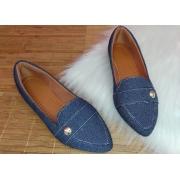 Sapatilha Bigudinho - Material Jeans Pingente na lateral