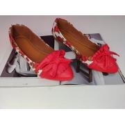 Sapatilha estampa Floral- Bico lanço e franja Vermelho.