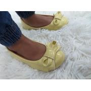 Sapatilha Infantil - Amarela Verniz com laço mesmo material