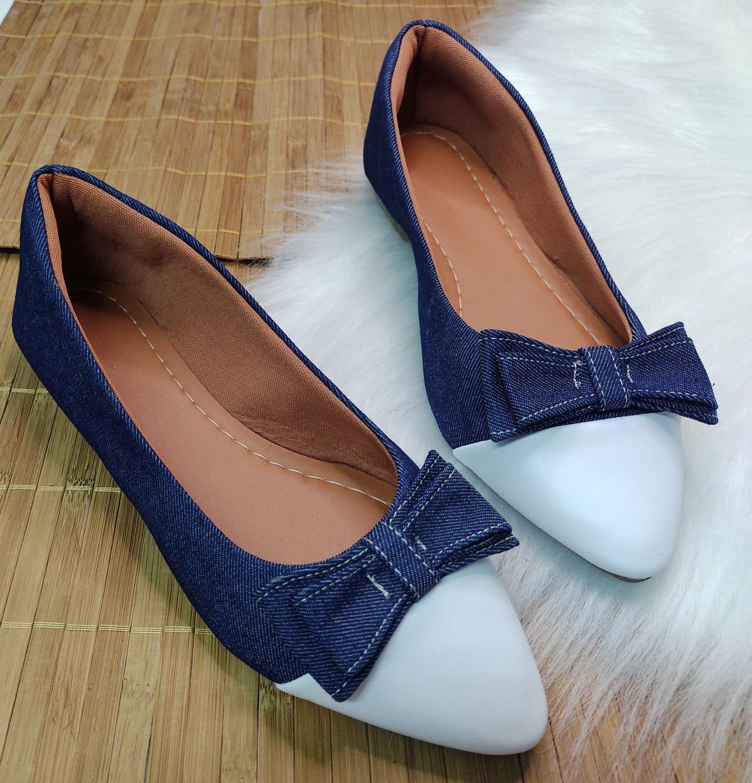 Sapatilha Jeans - Com Bico Branco  e Laço Jeans