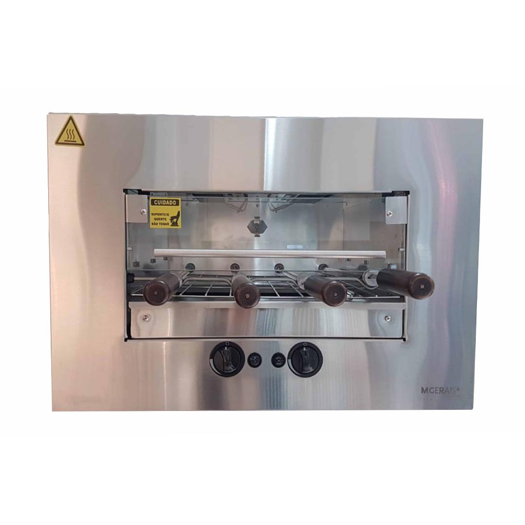 Churrasqueira a gás GLP de embutir 4 espetos GLP 127V by M Gerais inox 304 bivolt