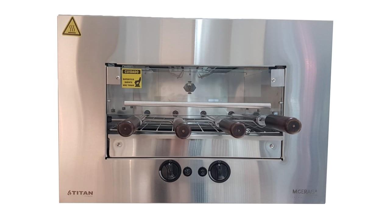 Churrasqueira à gás GN de embutir 4 espetos  by M Gerais inox 304 bivolt