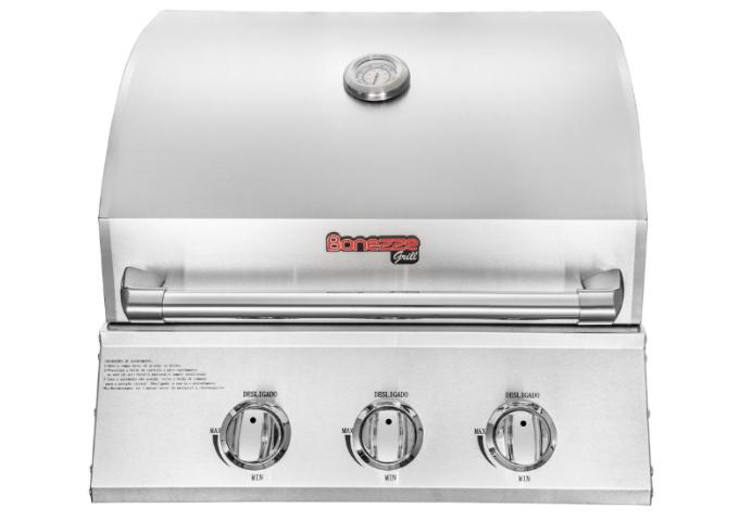 Churrasqueira Pro de embutir 3 queimadores a gás inox 60cm - Bonezze