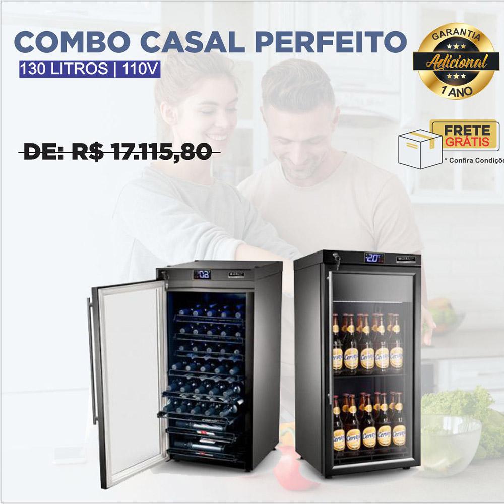 Combo Casal Perfeito: Adega + Cervejeira 130L 110V