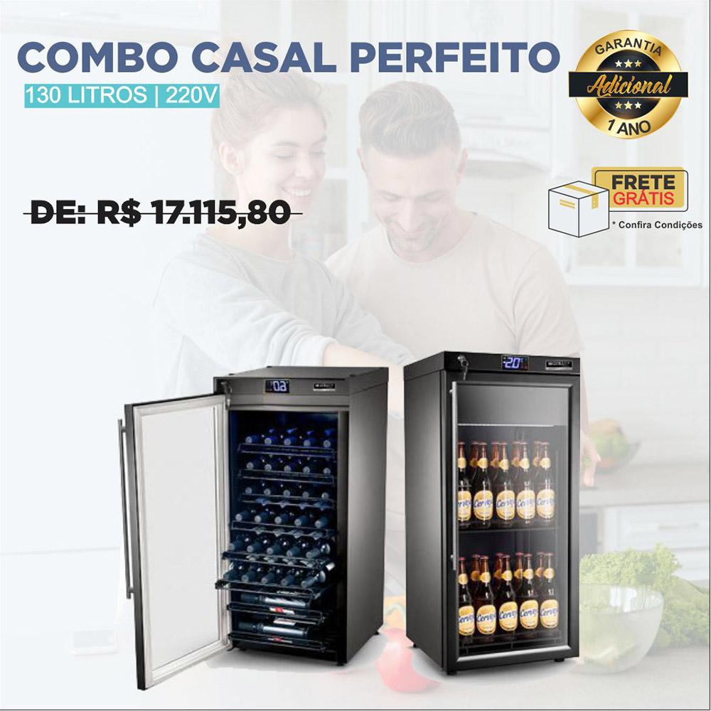 Combo Casal Perfeito: Adega + Cervejeira 130L 220V