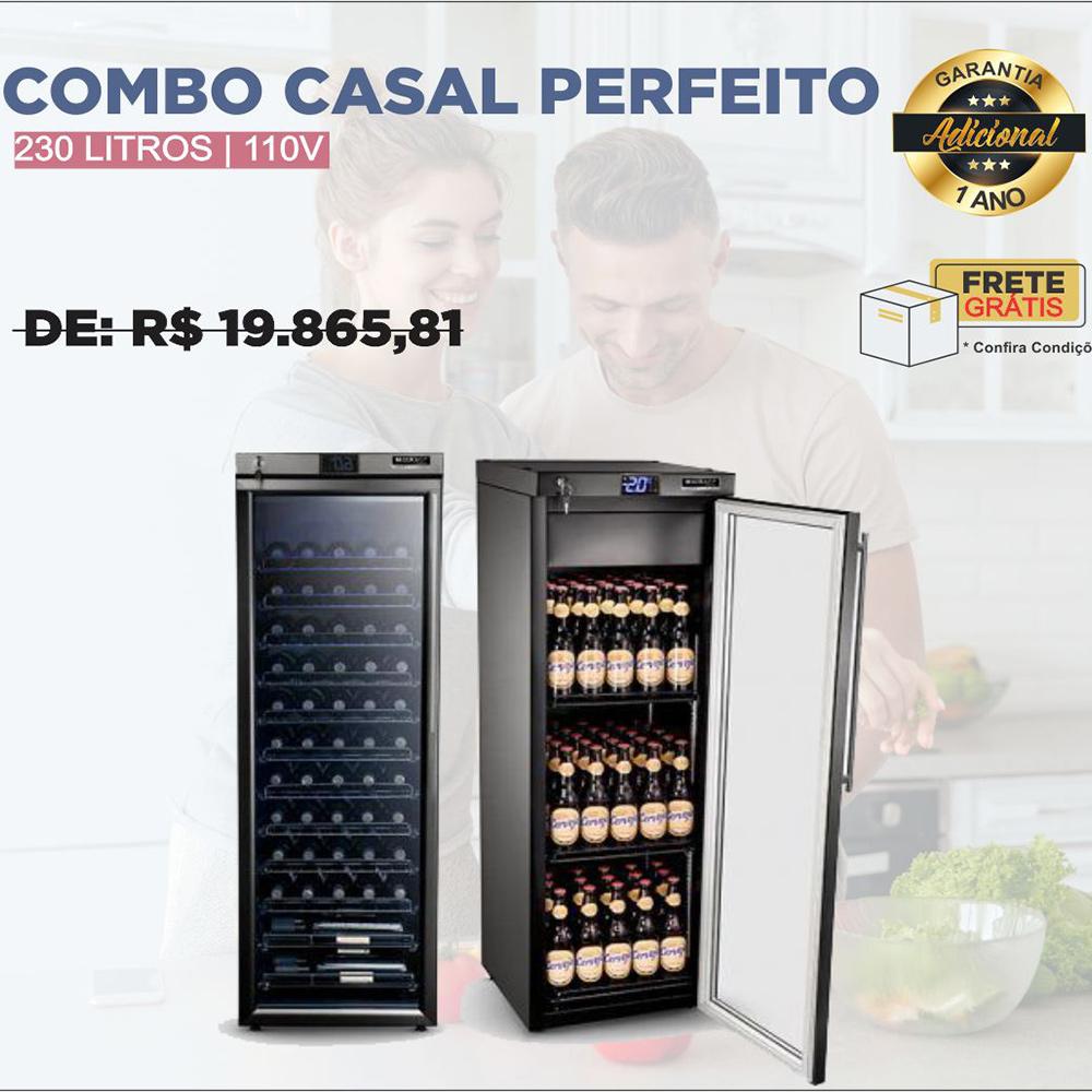 Combo Casal Perfeito: Adega + Cervejeira 230L 110V