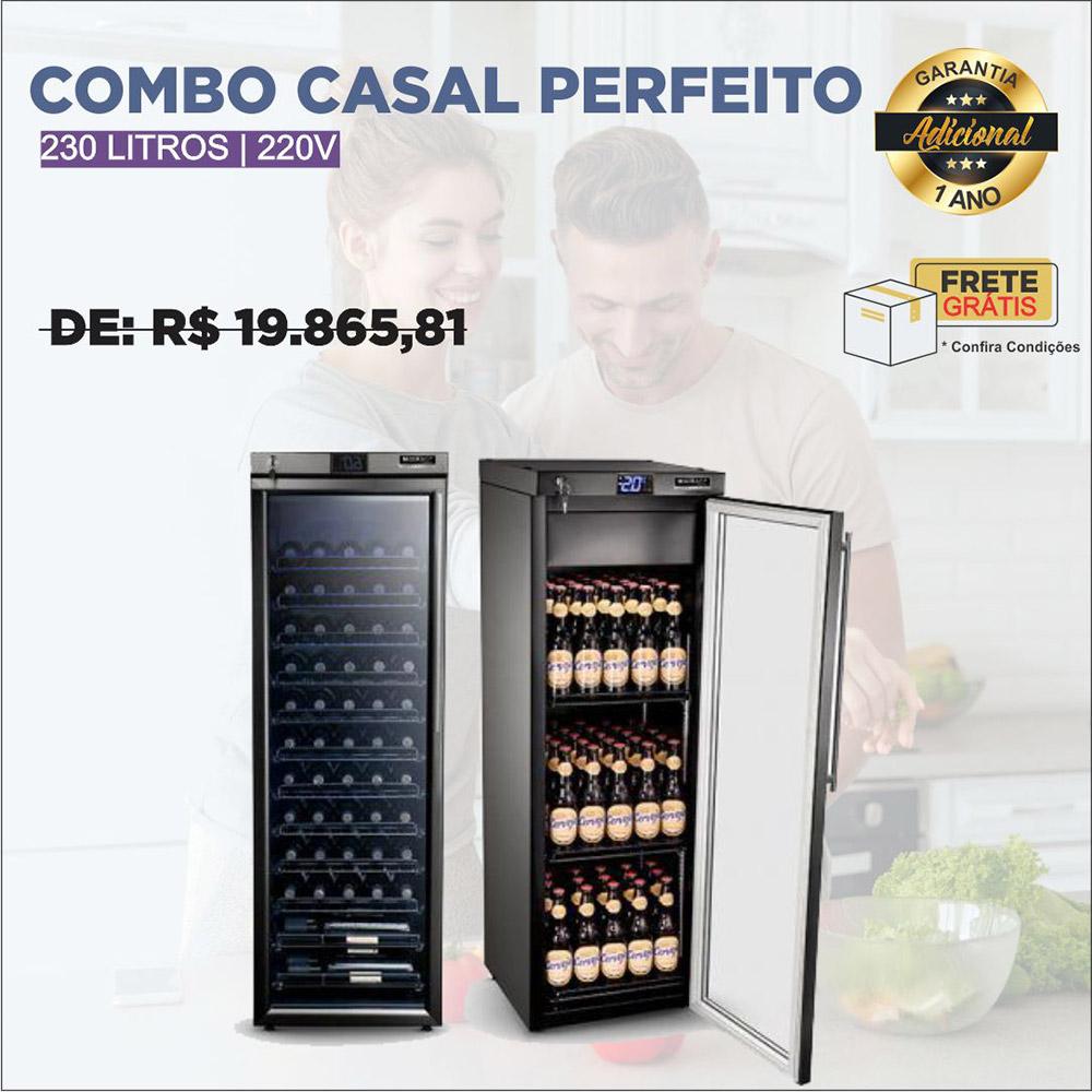 Combo Casal Perfeito: Adega + Cervejeira 230L 220V