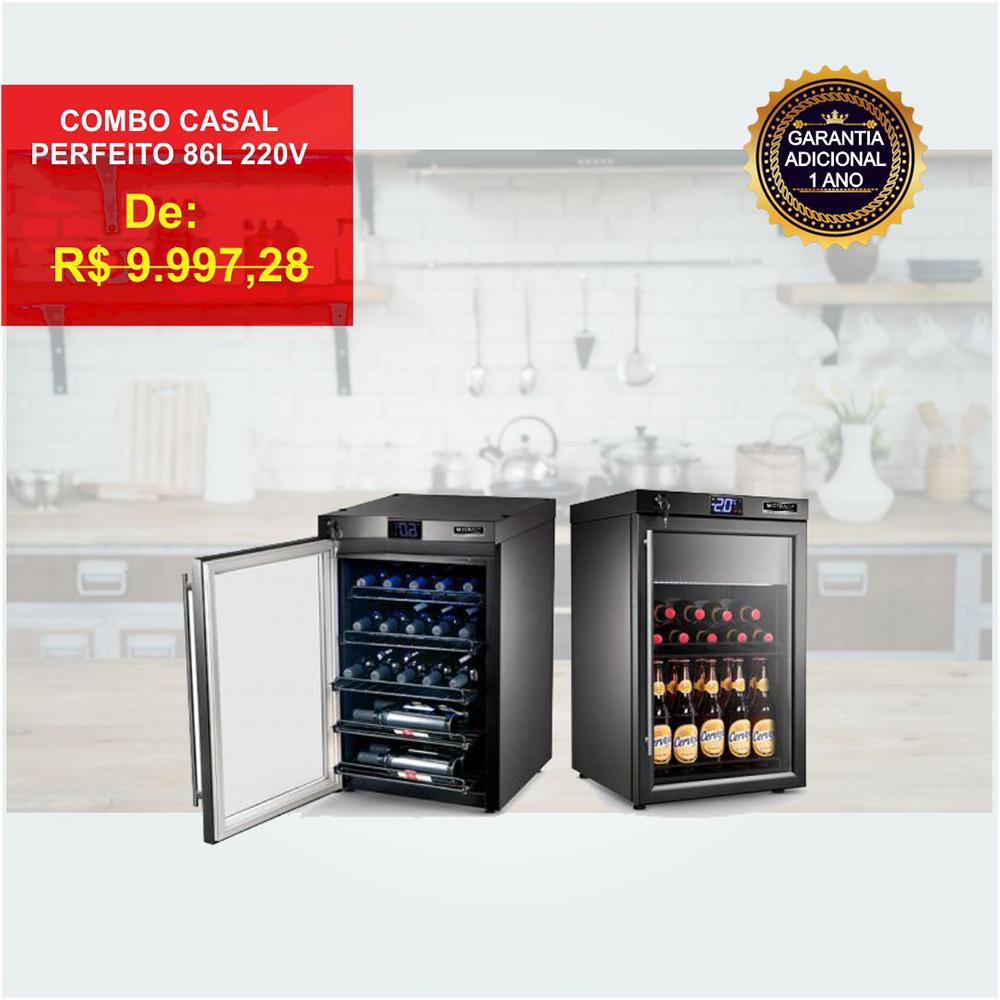 Combo Casal Perfeito: Adega + Cervejeira 86L 220V