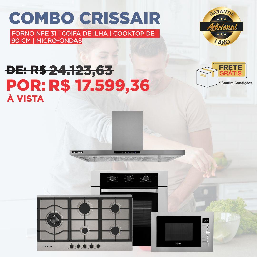 Combo Especial Ilha Crissair: Cooktop 90cm + Microondas Embutir + Forno Elétrico + Coifa Ilha