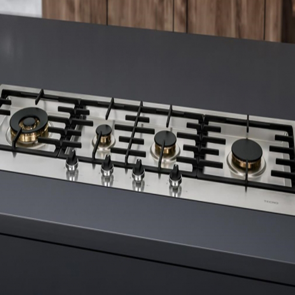 Cooktop à gás Tecno Inox Escovado 4Q 110cm Tripla chama lateral 220V