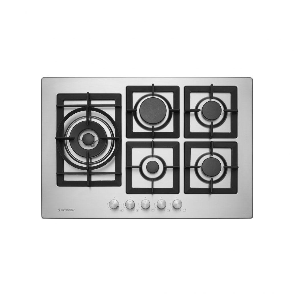 Cooktop Elettromec Quadratto 5 Bocas Tripla Chama Lateral Inox Gusa 75cm Bivolt