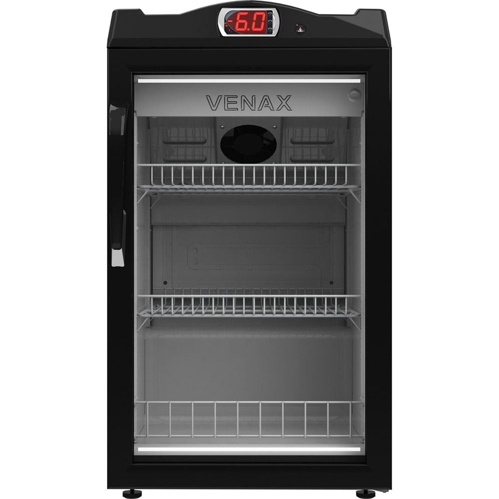 Expositora de bebidas Venax preta com vidro incolor 82L 127V