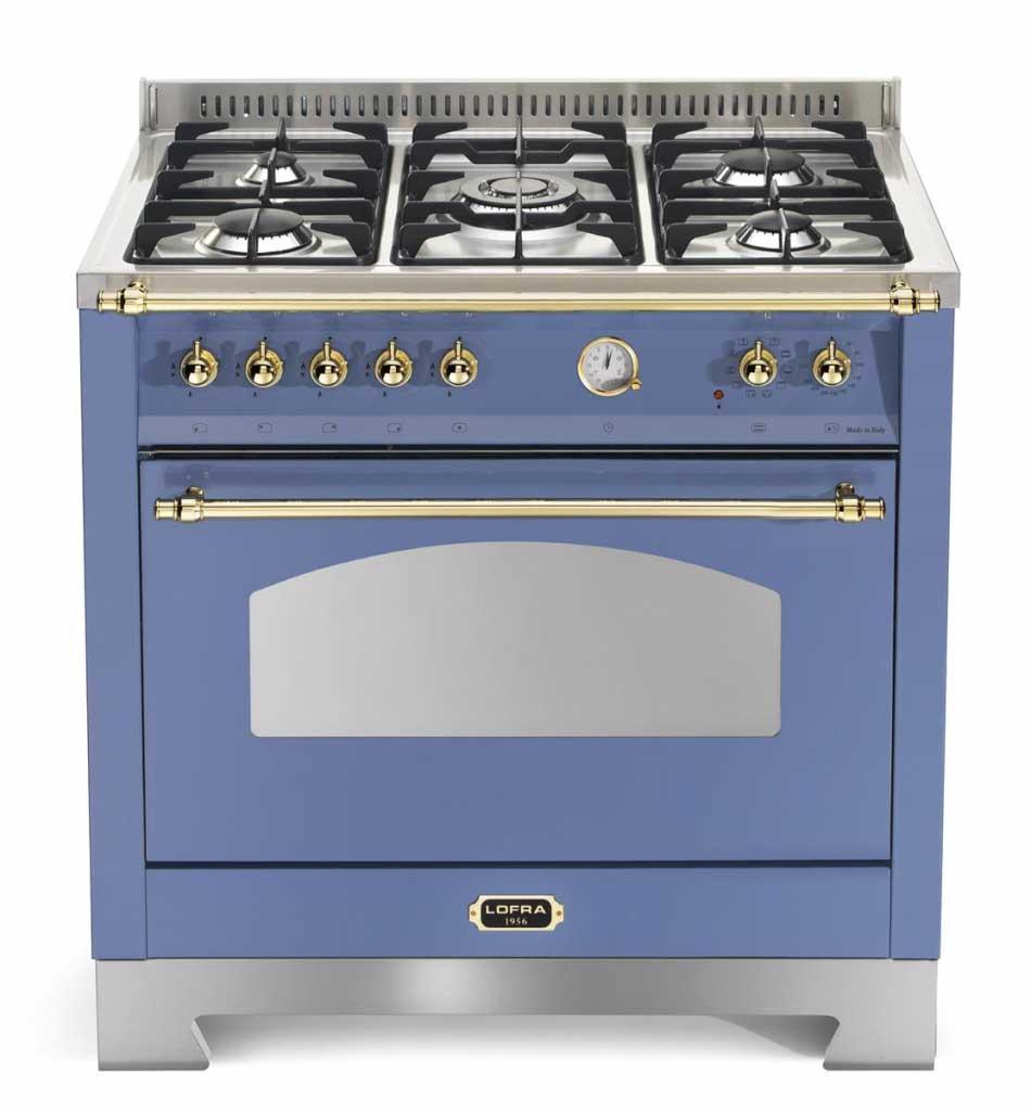 Fogão a gás Lofra Dolcevita azul lavanda 5 queimadores 90x60cm 1 forno 220V