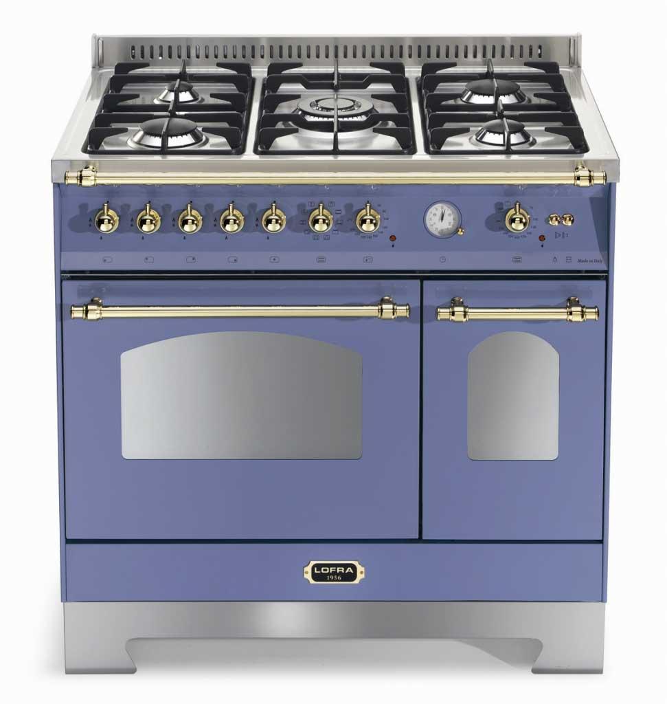 Fogão a gás Lofra Dolcevita azul lavanda 5 queimadores 90X60cm 2 fornos 220V