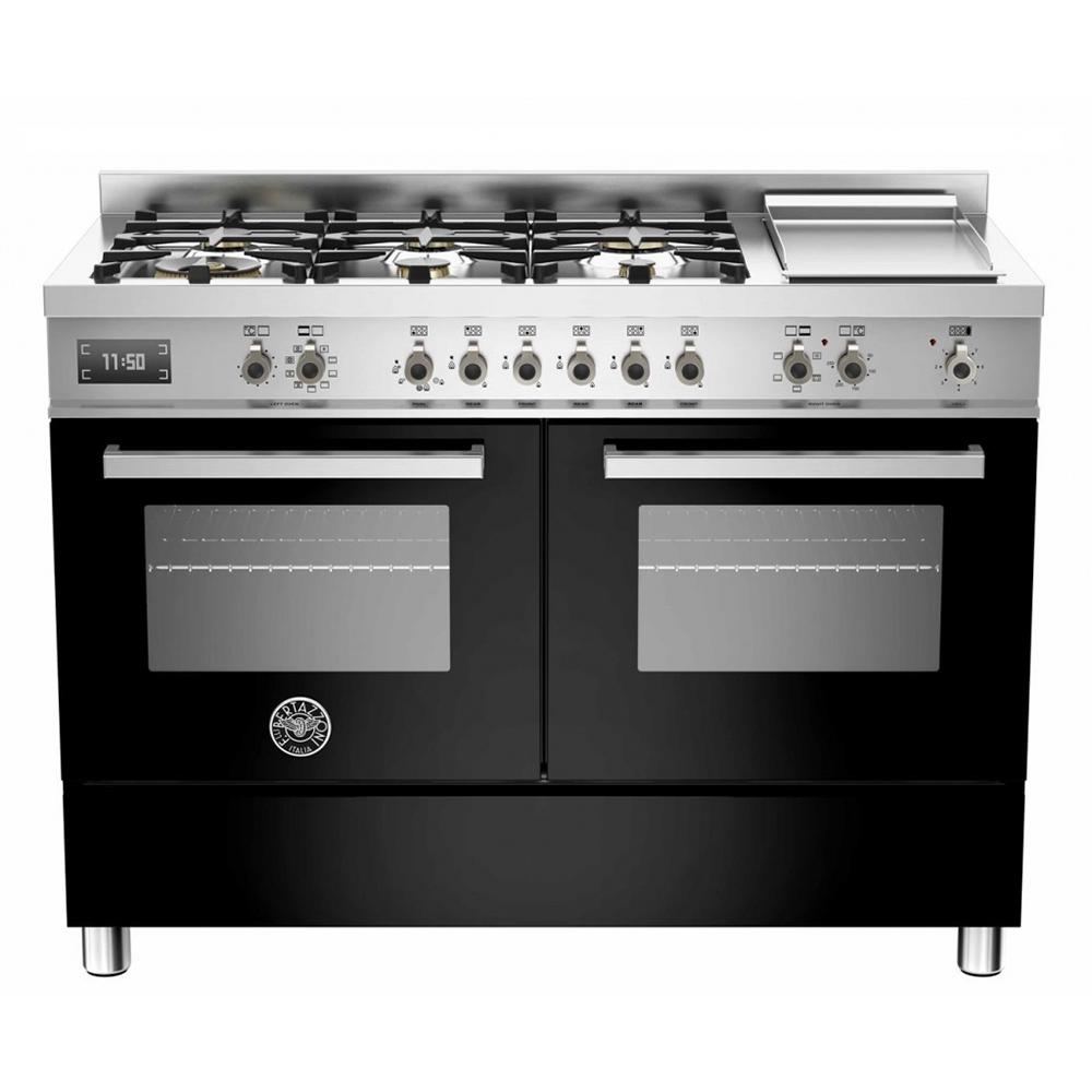Fogão preto Professional Bertazzoni 119,5cm com 6 queimadores 2 fornos e grill de mesa