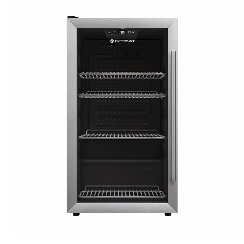 Frigobar Elettromec Freestanding 85L fundo preto Low-E abertura para esquerda 480 x 875 x 430MM 127V